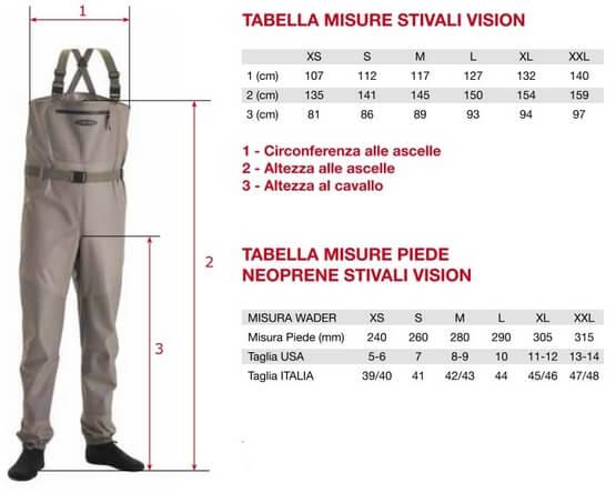 Tabella Misure Waders Vision
