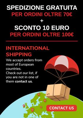 Consegna gratis + sconto 10€ e spedizione in tutta in Europa